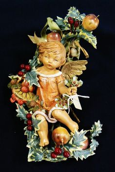 Italy Fontanini Simonetti Nativity Cherub Angel Ornament Wall Hanging Holiday NW