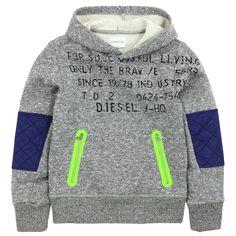 Diesel SHAKA hoodie in gray fleece hoodie – 53066 - Kids Fashion Baby Kids Wear, Boys Wear, Toddler Boys, Kids Boys, Baby Boy Outfits, Kids Outfits, Kids Fashion Boy, Fleece Hoodie, Diesel