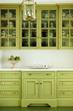 my favorite color for the island--go bold or go home?  Lime green Georgian style butler's pantry cabinets