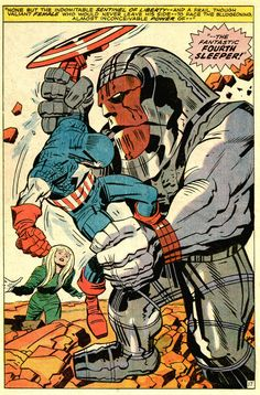 CAPTAIN AMERICA BATTLES THE FANTASTIC FOURTH SLEEPER BY JACK KIRBY