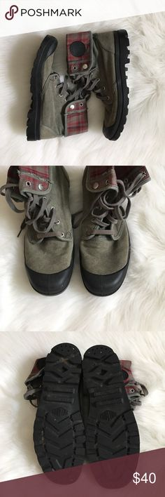 Grey green Palladium Boots with plaid interior Great condition Boots. My father in law barely wore these. He mainly wore them folded over so the place underneath that folded part is a little darker. Palladium Shoes Boots