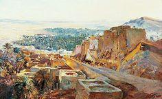 Peinture d'Algérie - Peintre Français, Maxime NOIRÉ (1861-1927), huile sur toile , Titre: Caravane à Laghouat.