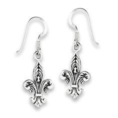 Sterling Silver Etched Fleur de Lis Dangle Earrings