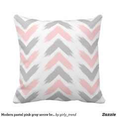 Modern pastel pink grey arrow brushstrokes pattern cushion