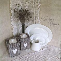 """Купить Набор из плетеных коробов и подносика """"Вечерний чай"""" - серый, состаренный, короб, короб для хранения, paper basket, weaving"""