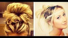 4 Easy No Heat Hair Styles: How to do Messy Buns!, via YouTube.