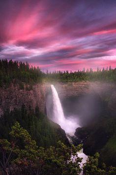 Amazing waterfall on dusk! Photo via: Beautiful World, Beautiful Places, Beautiful Pictures, Beautiful Scenery, Amazing Places, All Nature, Amazing Nature, Beautiful Waterfalls, Beautiful Landscapes