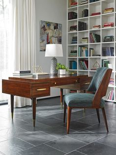 Mid-Century Modern Desk Crafted from Quartered Zebrano.  #GoldAccents #LHBDesign