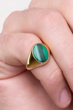 A Malachite Signet Ring made out of Solid Gold. Choose a Yellow Gold, White Gold or a Rose Gold finish. One of our BEST-SELLING signet rings handmade in our Goldsmith Workshop in Athens,. Simple Jewelry, Modern Jewelry, Silver Man, Silver Rings, Men Rings, Signet Ring, Jewelries, Stores, Malachite