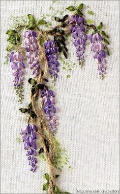I ❤ ribbon embroidery . . . #Ribbon embroidery bordado -# embroidery  #stitches  #@Af's 23/4/13