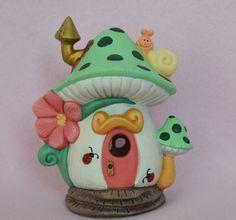 Mushroom Fairy  House  Polka Dot Fairy House by TeresasCeramics
