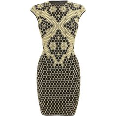 Alexander McQueen Black/pale yellow Honeycomb Bee 3D Puckering Lace... (2 205 AUD) ❤ liked on Polyvore featuring dresses, vestidos, robes, yellow dress, short yellow dress, short lace dress, lace cocktail dress and cap sleeve dress
