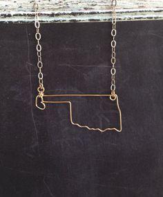Oklahoma Necklace  Custom State Necklace  OK State by theFolk