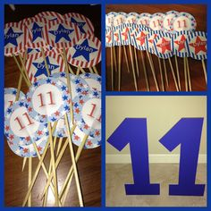 """Cupcake toppers and foam """"11"""" for backdrop, Gymnastics birthday party,  #patriotic #redwhiteblue #usa graphics from www.mygrafico.com"""