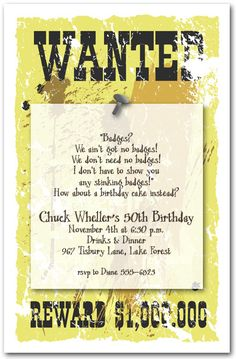 Sheriff's Wanted Poster Invitations feature an invitation...