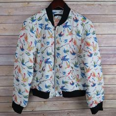 Humming bird print bomber jacket Brand: Ark&CO Size:L (best fit M)  New   Humming bird print  Ribbed collar  Front zipper closure  Fully lined Pockets with zipper  100% polyester Jackets & Coats