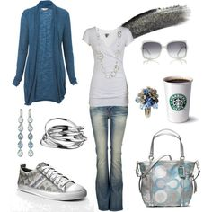 A fashion look from July 2012 featuring drape cardigan, wrap shirt and flared jeans. Browse and shop related looks. Jean Outfits, Casual Outfits, Cute Outfits, Tomboyish Outfits, Cute Fashion, Fashion Outfits, Womens Fashion, Fashion Trends, Fashion Rocks