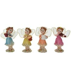 uhoMEy 4Piece Miniature Fairy Garden Cute Flower Fairies with Musical Instruments Figurine Ornament DIY Outdoor Garden Decor *** Click the image to view the details