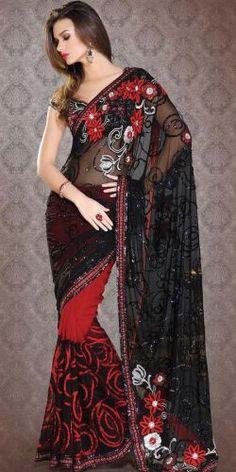 Black & Red Net Saree