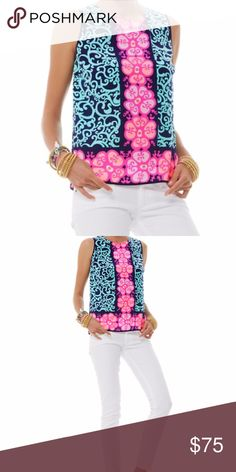 Lilly Pulitzer Fountain Hopping Iona Shell Polished, pulled together, and FUN. Flow through your days and nights (wherever your heart takes you) with our Iona Shell. Throw on your favorite cardi and skinnies for cool nights + pair with wedges for an outfit that pops. 100% Silk. Lilly Pulitzer Tops Tank Tops