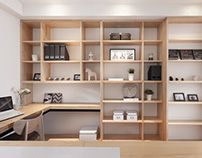 Varying sized storage compartments are an essential aspect for the study/office.  LIFE CREATOR DESIGN | THE GLASS BOX