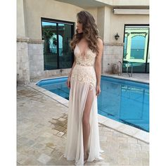 White Prom Dresses,Lace Prom Dress