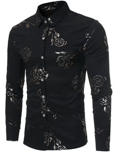 Men's Clothing, Shirts, Casual Button-Down Shirts, Mens Hipster Gold Rose Printed Slim Fit Long Sleeve Dress Shirts/Prom Performing Shirts - - Button-Down Shirts Style Hipster, Style Casual, Hipster Outfits, Hipster Fashion, Fashion Outfits, Fashion Ideas, Men's Style, Fashion Men, Fashion Styles