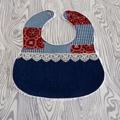 Cowgirl Denim and Lace Patchwork Chenille Baby Girl Bib by RADifiedbaby on Etsy https://www.etsy.com/listing/223325579/cowgirl-denim-and-lace-patchwork