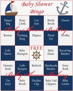 Baby Shower Bingo is a great game to have at any baby shower! This listing is for 40 different printable nautical themed Bingo cards for you to