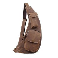 Handmade Vintage Genuine Leather Messenger Bag, Shoulder Bag, Chest Bag, Waist Pack 2009 - ROCKCOWLEATHERSTUDIO