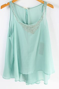 Crystal Soft Mint Chiffon Top on Emma Stine Limited