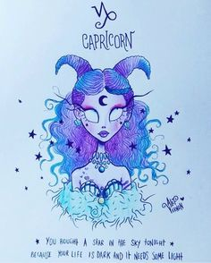 capricorn zodiac sign drawing, girl drawing easy, blue and purple curly hair, blue and purple horns drawings ▷ 1001 + ideas how to draw a girl - tutorials and pictures Art Tim Burton, Tim Burton Art Style, Tim Burton Stil, Tim Burton Kunst, Tim Burton Drawings Style, Zodiac Capricorn, Zodiac Art, Zodiac Signs, Desenhos Tim Burton