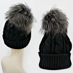 Warm Chic Black Knit Beanie Winter Hat  With Genuine Raccoon Fur Pom Pom. Get the lowest price on Warm Chic Black Knit Beanie Winter Hat  With Genuine Raccoon Fur Pom Pom and other fabulous designer clothing and accessories! Shop Tradesy now