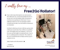 """I have really enjoyed having the ease and assurance this walker gives me. It was a nightmare whenever I was out, knowing I could be stranded and not able to use the facilities in businesses or restaurants. Thank you for this product! Bathroom Safety, Portable Toilet, Elderly Care, Ibm, Caregiver, Arthritis, Restaurants, Give It To Me, Products"
