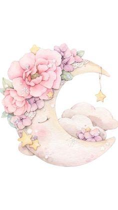 Watercolor Flower, Watercolor Paintings, Animal Drawings, Cute Drawings, Bel Art, Baby Posters, Baby Painting, Baby Clip Art, Cute Illustration
