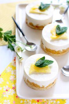 entremets avec mousse au chocolat blanc, et fruit de la passion, ananas, coco... exotique!