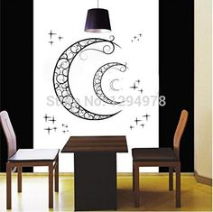 FunnyCraft High Quality Crescent Moon Stars Window Stickers Removable Wall Stickers Decor Nursery Kids Room Home Decor Mural Decal Perfect Wall Stickers -- To view further for this item, visit the image link. (Note:Amazon affiliate link)