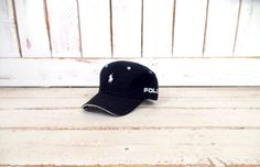 90s vintage black Polo baseball hat/adjustable baseball/trucker hat/one size fits most by GreenCnynMercantile on Etsy
