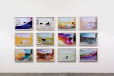 20 Artists to Collect Now - Matthew Brandt's Rainbow Lake WY G1, a grid of photographs soaked in lake water.