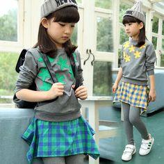 $19.00 (Buy here: https://alitems.com/g/1e8d114494ebda23ff8b16525dc3e8/?i=5&ulp=https%3A%2F%2Fwww.aliexpress.com%2Fitem%2F2015-Autumn-Kids-Clothes-Plaid-Skirt-T-Shirt-2-pcs-Girls-Outfits-Sport-Dress-Children-Clothing%2F32447354002.html ) 2015 Autumn Kids Clothes Plaid Skirt T Shirt 2 pcs Girls Outfits Sport Dress Children Clothing Set 3-13 Years old Girls Clothes for just $19.00