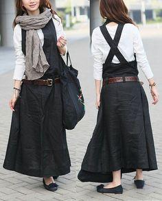 STOCK Black Linen Halter Long Dress/ Maxi Sundress by camelliatune, $69.00
