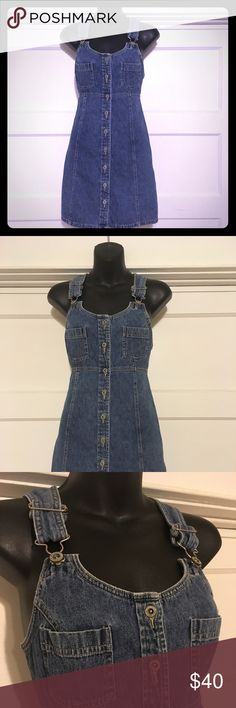 AE Vintage denim overalls dress Gently loved (these are like new!) vintage denim overall jumper dress. Tag reads size 4. Adjustable straps. American Eagle Outfitters Dresses