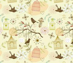 Birds pattern fabric by yaskii on Spoonflower - custom fabric