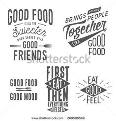 Vintage food related typographic quotes