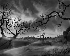 Dark Cemetary Black and White by JamesHillGallery.deviantart.com