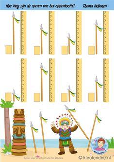 Hoe lang zijn de speren van het opperhoofd, thema indianen, kleuteridee, how long are the spears of the chief , theme Indians free printable, dia do índío