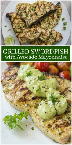 Low Unwanted Fat Cooking For Weightloss Grilled Swordfish With Avocado Mayonnaise Recipe From Steak Recipes, Grilling Recipes, Seafood Recipes, Dinner Recipes, Cooking Recipes, Healthy Recipes, Healthy Meals, Dinner Ideas, Seafood Soup