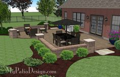 With 670 sq. ft., the Traditional Patio Design with Seating Wall has plenty of space for a large patio table and a portable fire pit with 4 oversized chairs.