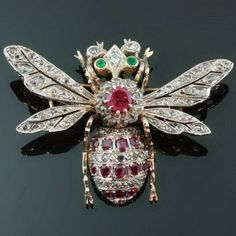Rose cut diamonds, rubies and emeralds bejeweled bee