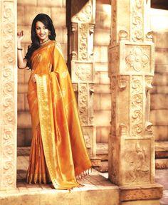 Golden yellow saree from Pothys. Samudrika Pattu (pure silk)